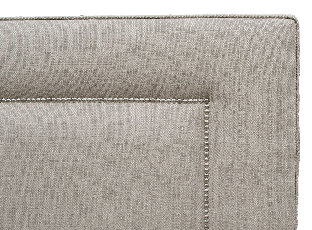 Coolmore Headboard - 5ft Chrome Stud dETAIL - Aosta Linen