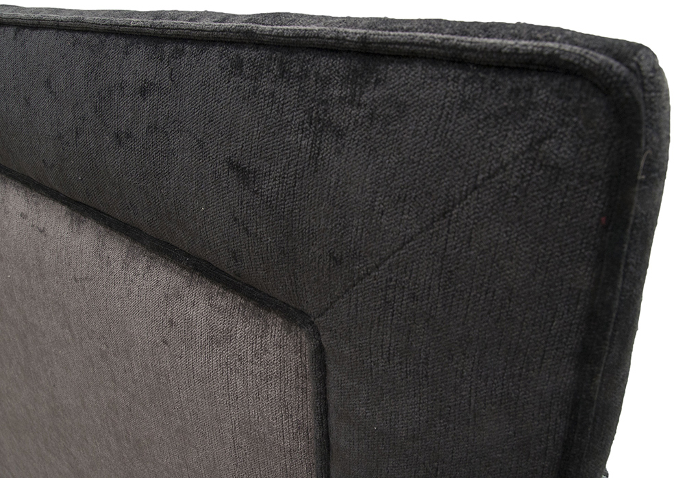 Coolmore Headboard - Bespoke - Piping instead of Studding Pimlico sr16023 Noir- sr15180 Charcoal 4FT6 Detail