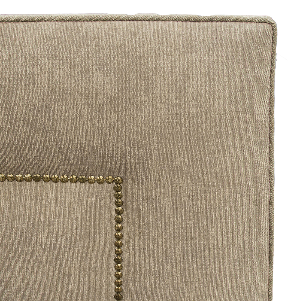 Coolmore Headboard Brass Studding Close Up - Dagano Plain Linen