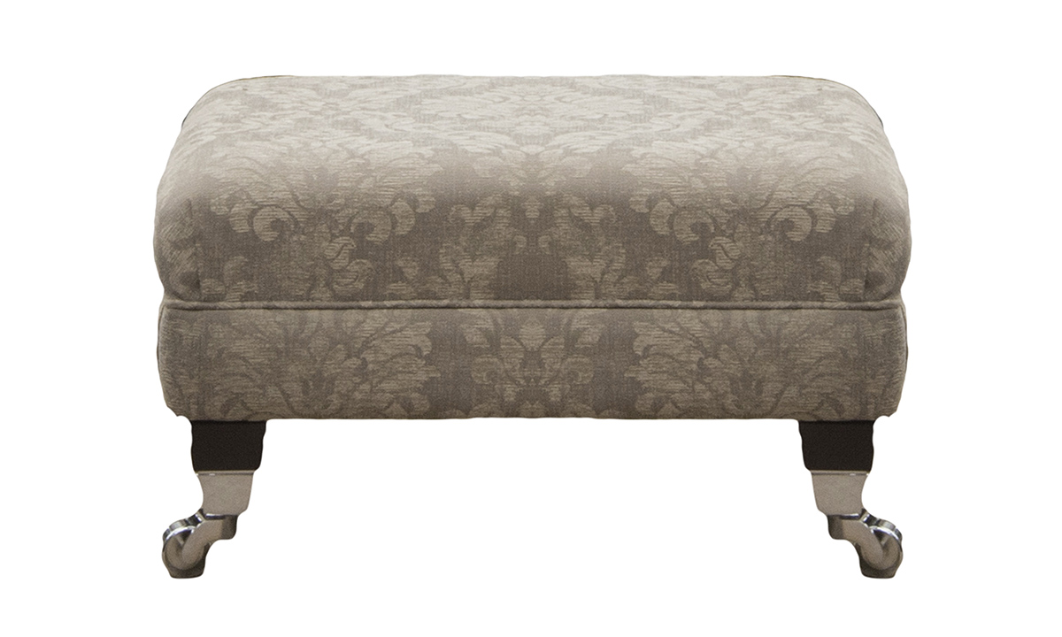 Costa Footstool in Dagano Pattern Linen Bronze Collection Fabric
