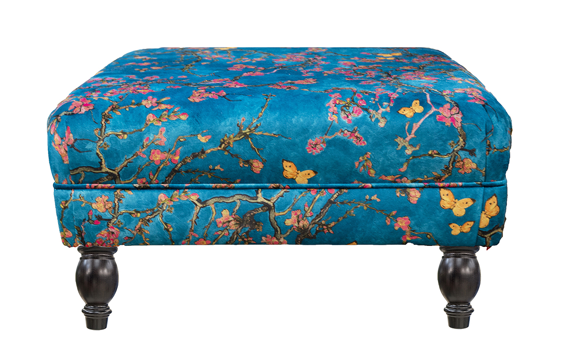 Costa Footstool in Trussardi Print Gold Collection Fabric