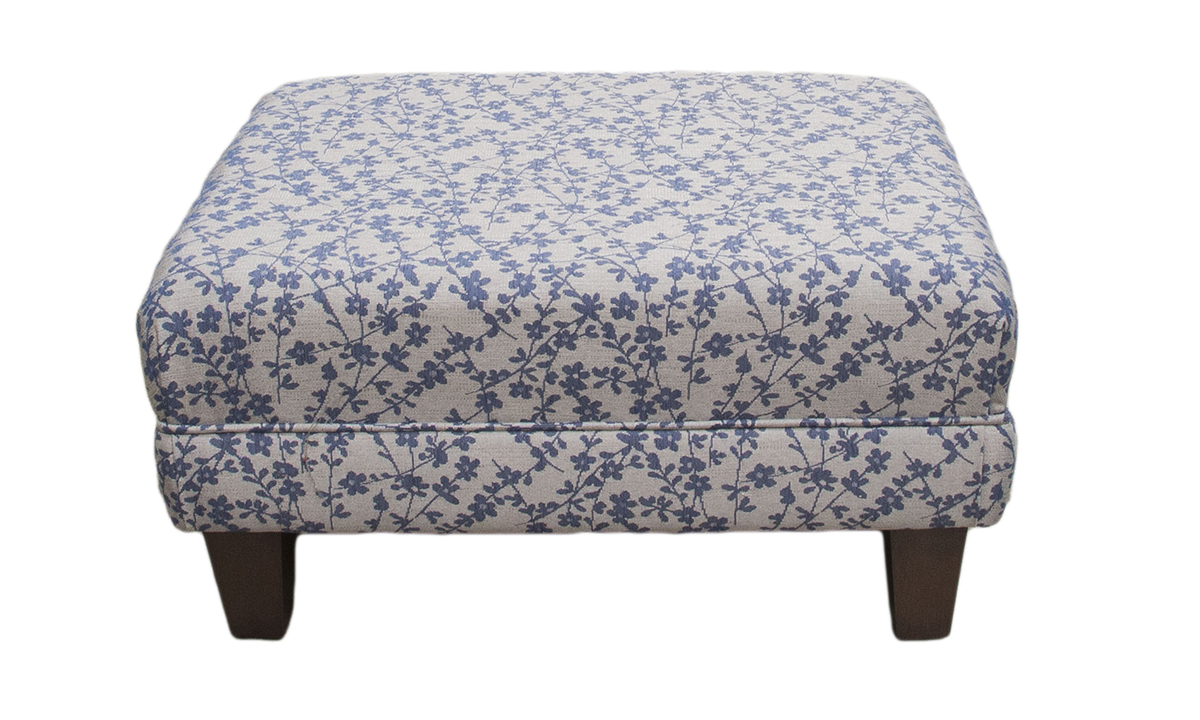Costa Footstool in Kwint Navy, Silver Collection Fabric
