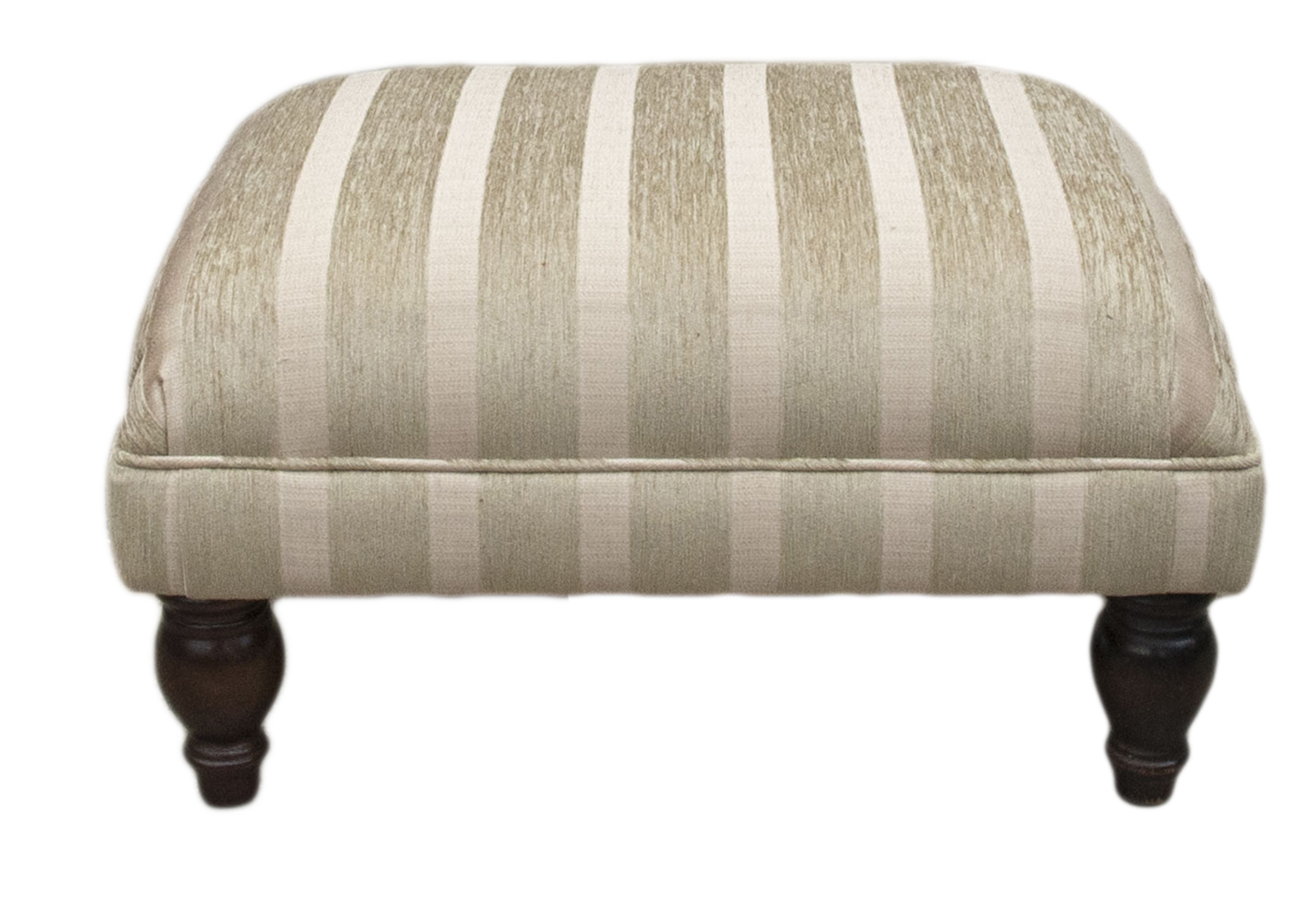 Footstool - Burton Stripe Champagne - Silver Collection