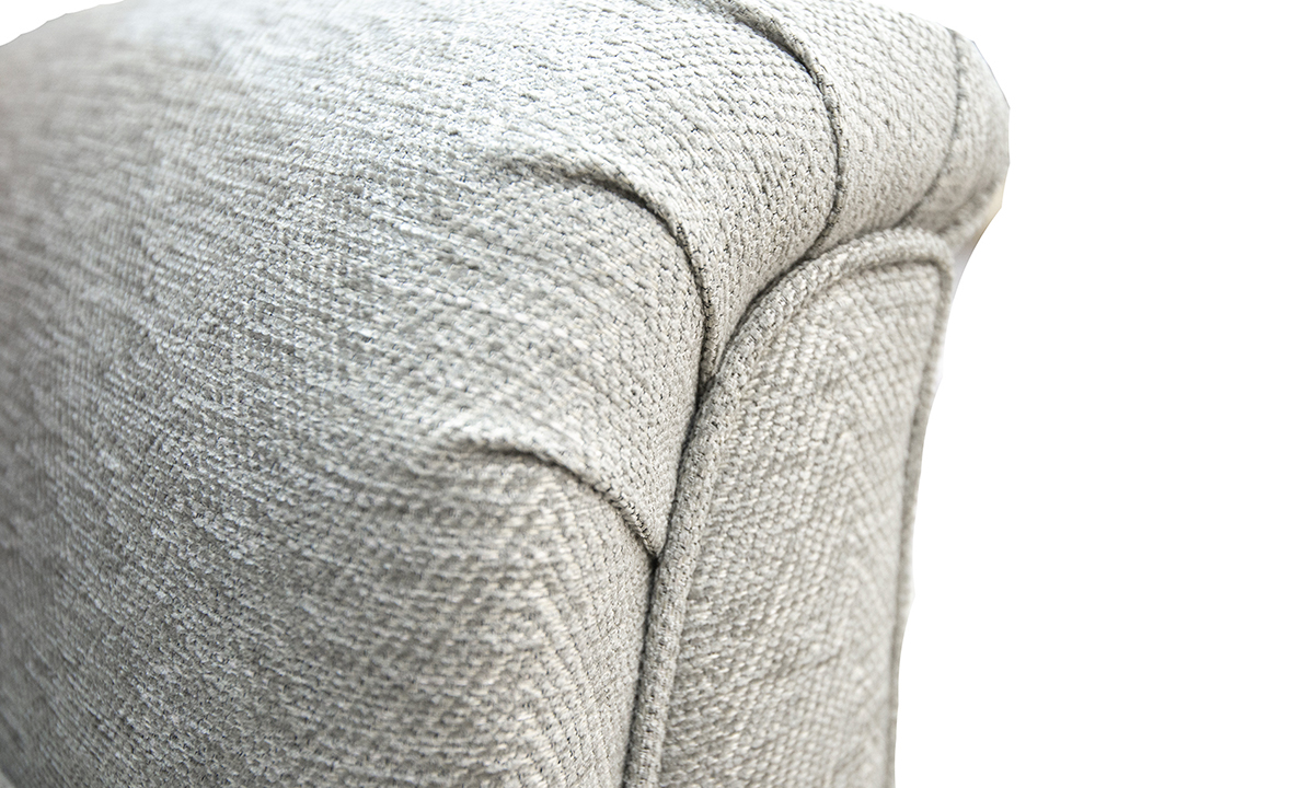 arm detail back detail in Loisa Herringbone Grey Silver Collection Fabric