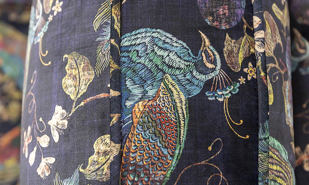Cumbria Back Cushion Detail in Peacock Navy, Platinum Collection Fabric