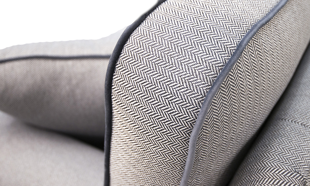 Cumbria Back Cushion Detail in Porto Caramel Silver Collection Fabric