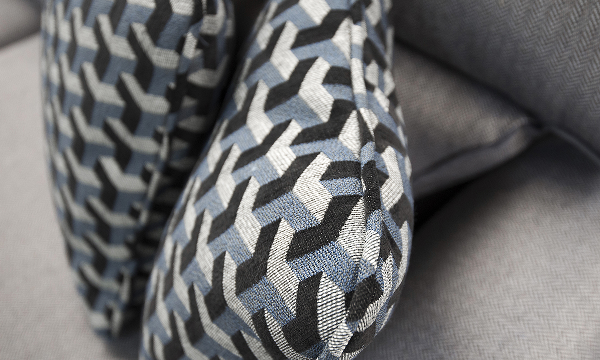 Cumbria Large Sofa Cushion Detail in Porto Caramel Silver Collection of Fabrics