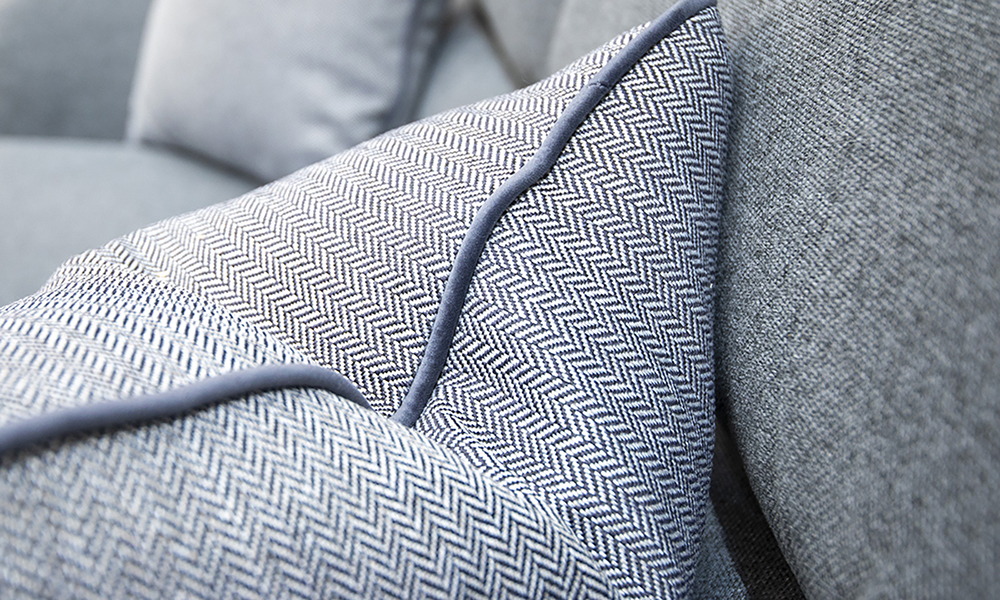 cushion detail in Port Dark Grey Silver Collection Fabric