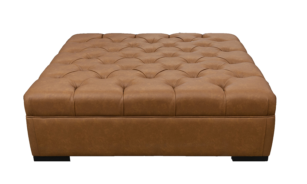 Deep Button Ottoman (Bespoke Size)  in Dust Tan, Silver Collection Fabric