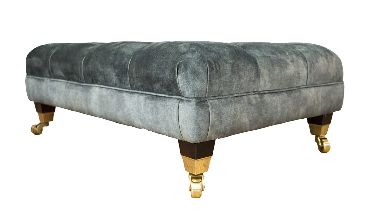Ottoman Deep Button in Lovely Jade Gold Collection Fabric