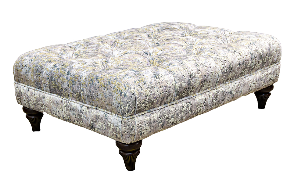 Deep Button Ottoman in Igloo Cloud, Platinum Collection Fabric