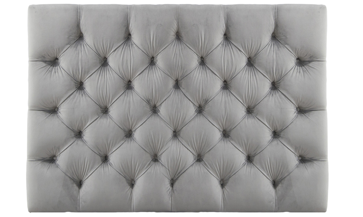 5ft Deep Button Headboard in Luxor Dolphin, Silver Collection Fabric
