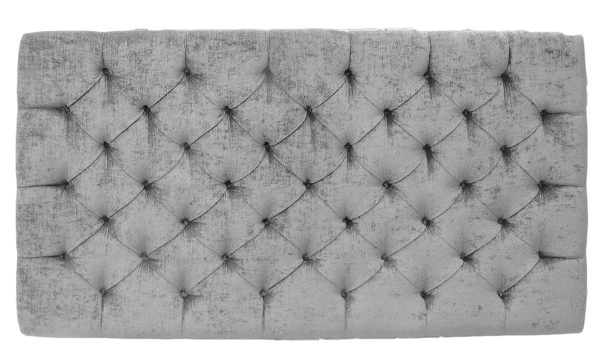 6ft Deep Button Headboard in Mancini French Grey, Silver Collection Fabric