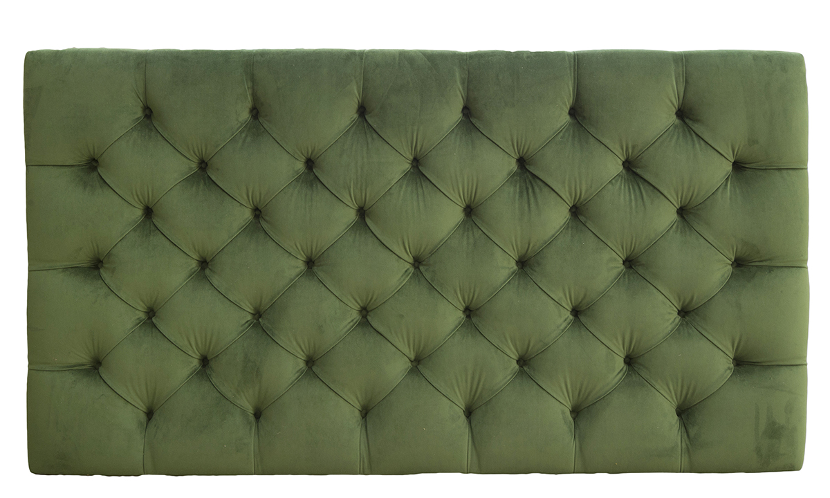 6ft Deep Button Headboard in Amalfi Forrest, Platinum Collection Fabric