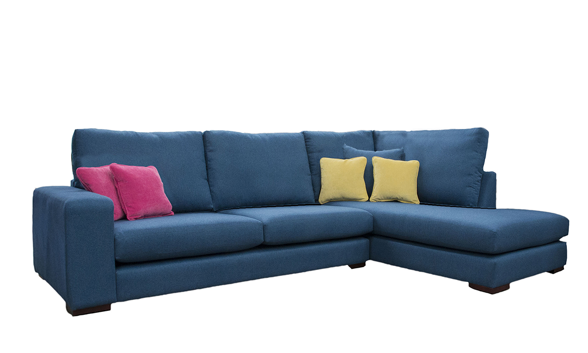 Denver Corner Chaise Sofa in Tweed Navy, Silver Collection Fabric