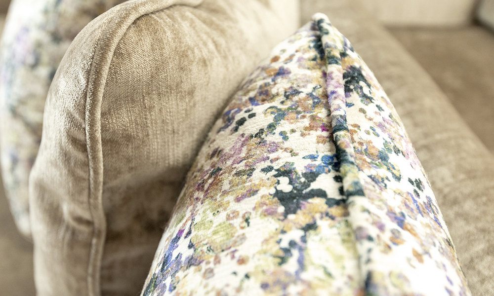 Elijah Scatter Cushion in Mancini Cappuccino, Gold Collection Fabric, Monet Summer, Platinium Collection Fabric