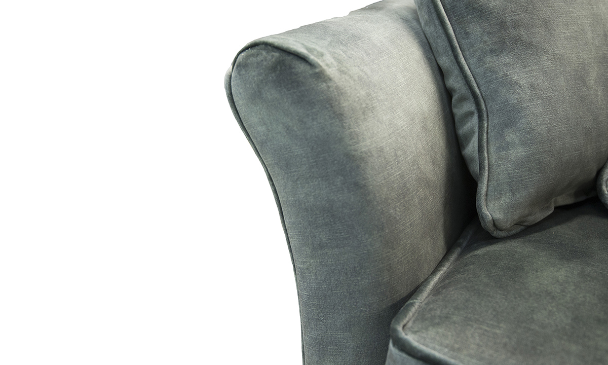 Elisha Love Seat Arm Detail  in Lovely Jade, Gold Collection Fabric