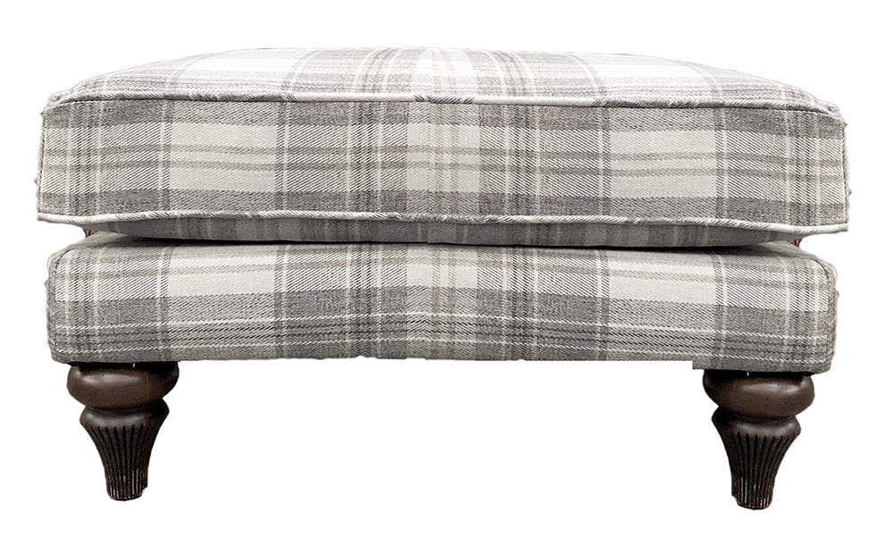 Elton Footool - Aviemore Plaid Linen - Silver Collection