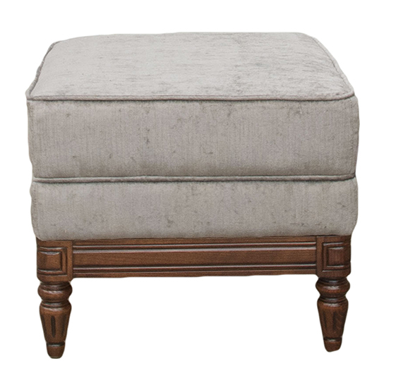 Gandon Footstool in Edinburgh Truffle – Silver Collection side