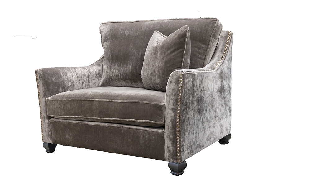 Grenoble Chair Bespoke Size in Boulder Silver, Platinium Collection - 405651