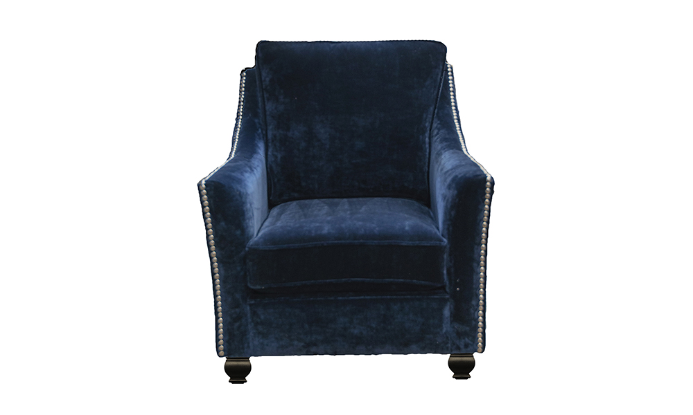 Grenoble Chair in Boulder Navy, Platinum Collection of Fabric