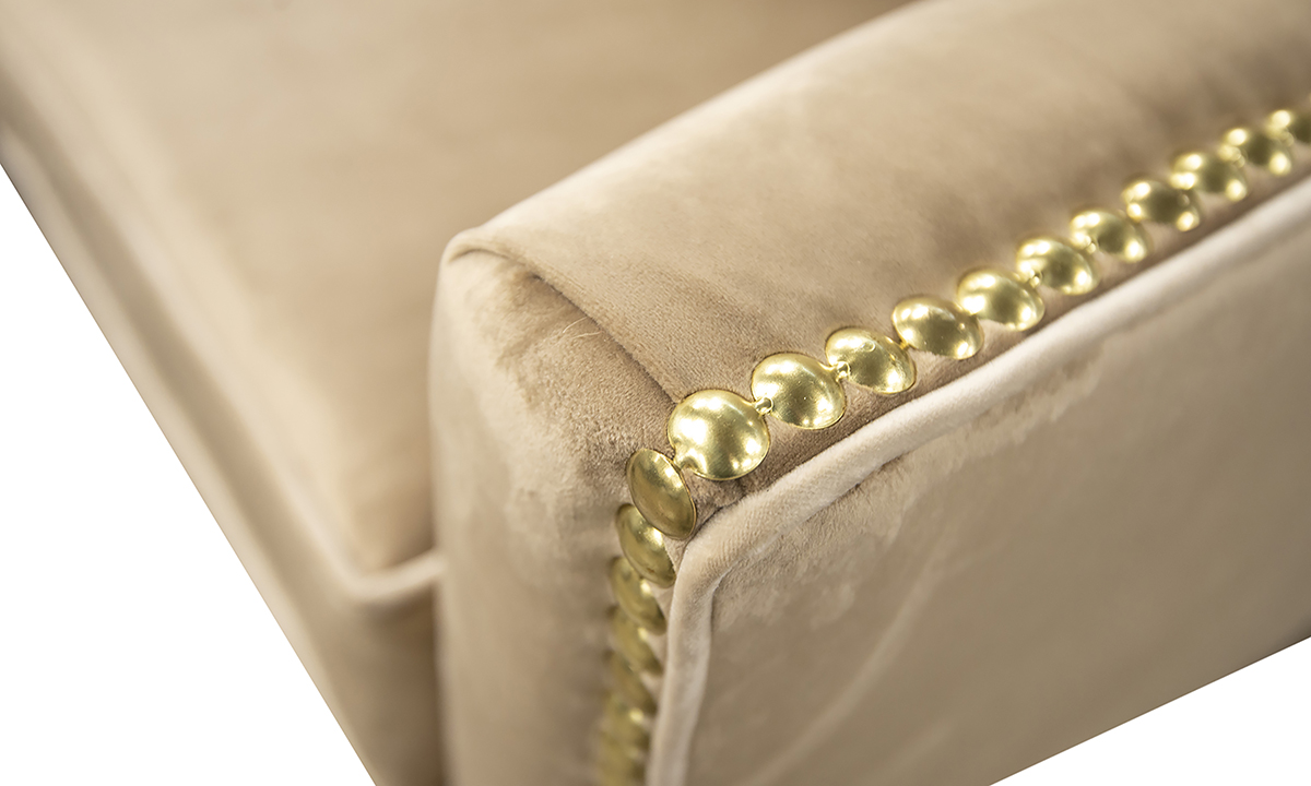 Arm Detail in Luxor Tobacco, Silver Collection fabric