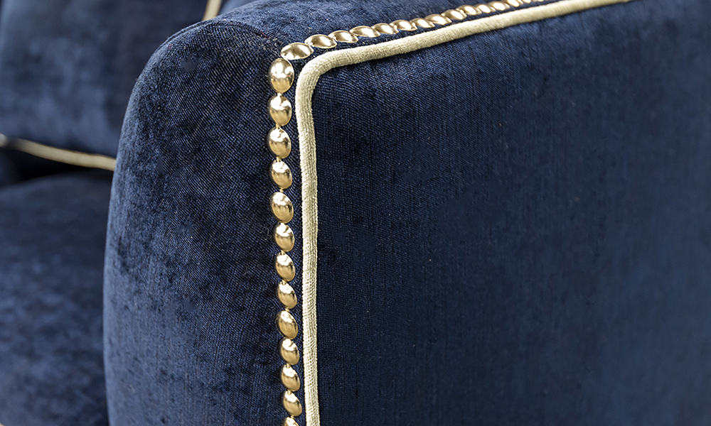 Grenoble Arm Detail in Edinburgh Carbon, Silver Collection Fabric