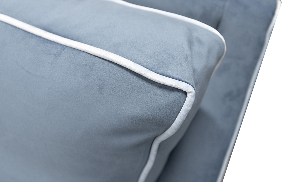Grenoble Back Cushion Detail in Warwick Pluch Airforce, Silver Collection Fabric