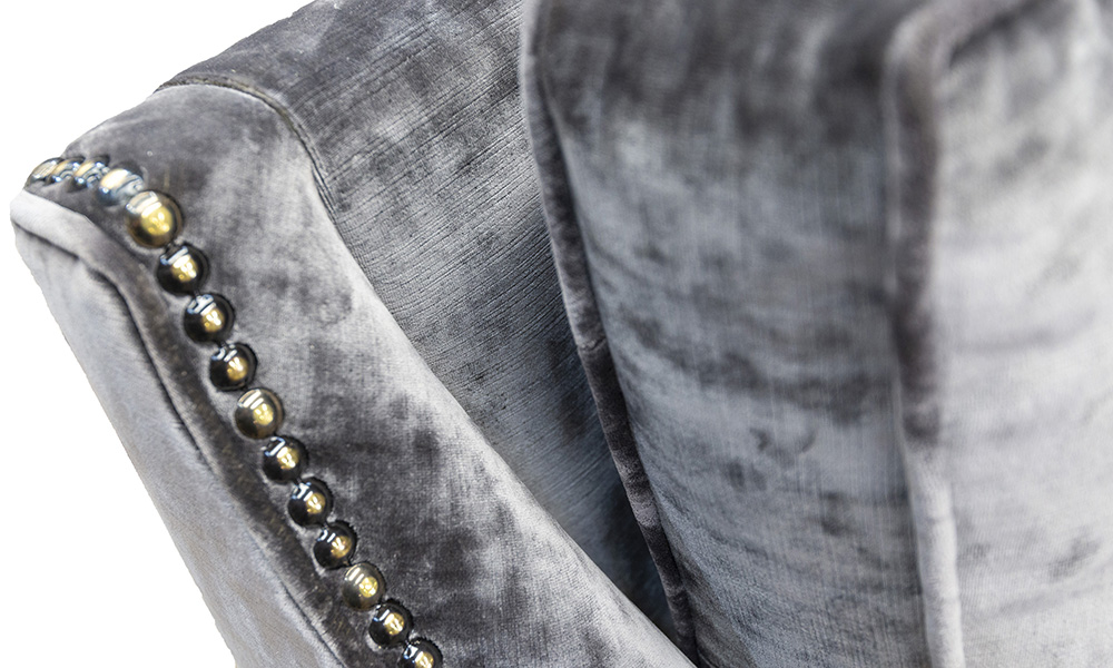 Grenoble Back Detail in Boulder Charcoal, Platinum Collection Fabric