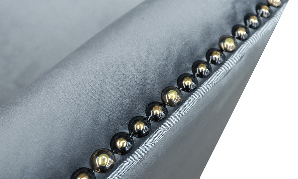 Grenoble Chair Arm Detail in Luxor Dolphin, Silver Collection Fabric
