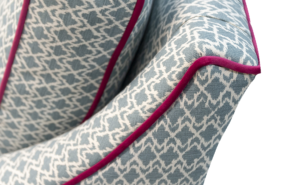 Grenoble Chair , Back Detail in Customers Own Fabric