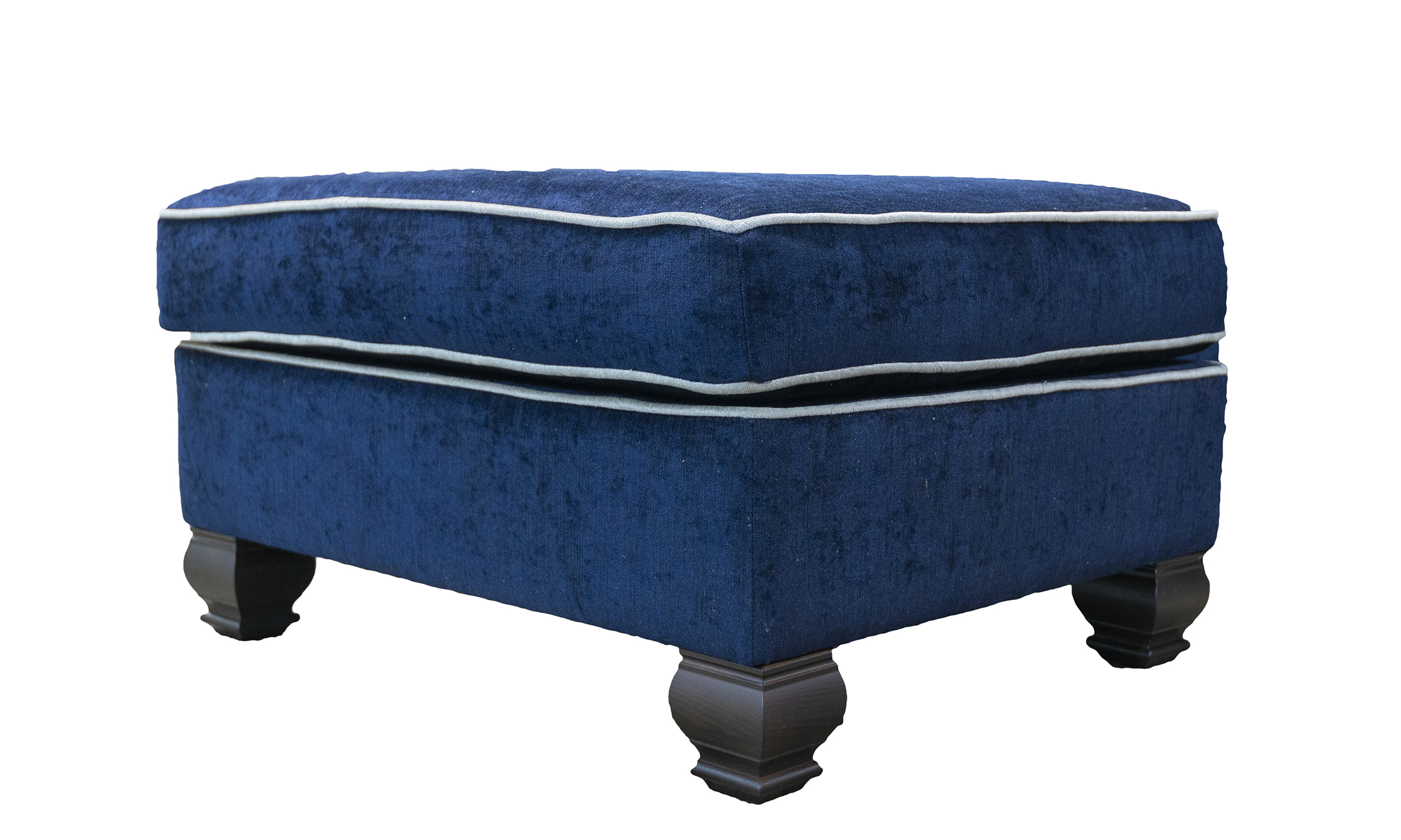 Grenoble Footstool in Edinburgh Carbon, Silver Collection Fabric