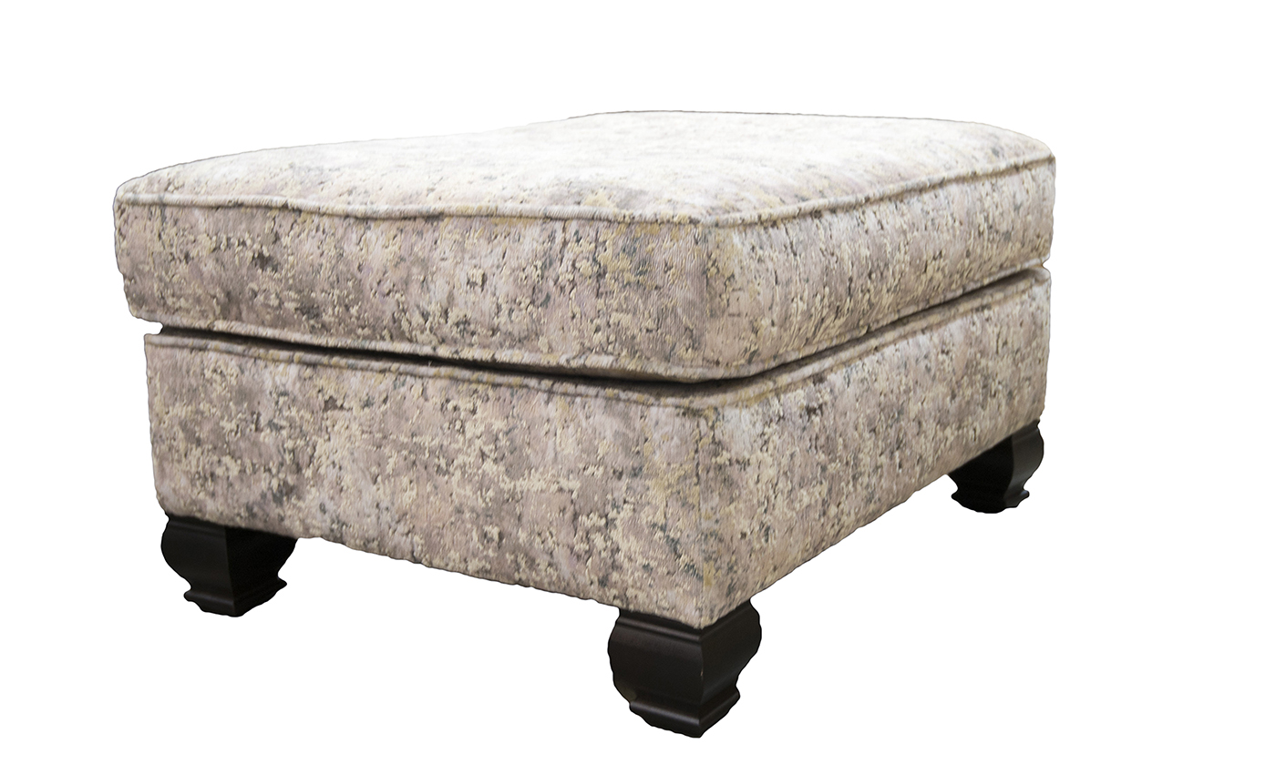Grenoble Footstool in Igloo Cloud Platinum Collection Fabrics