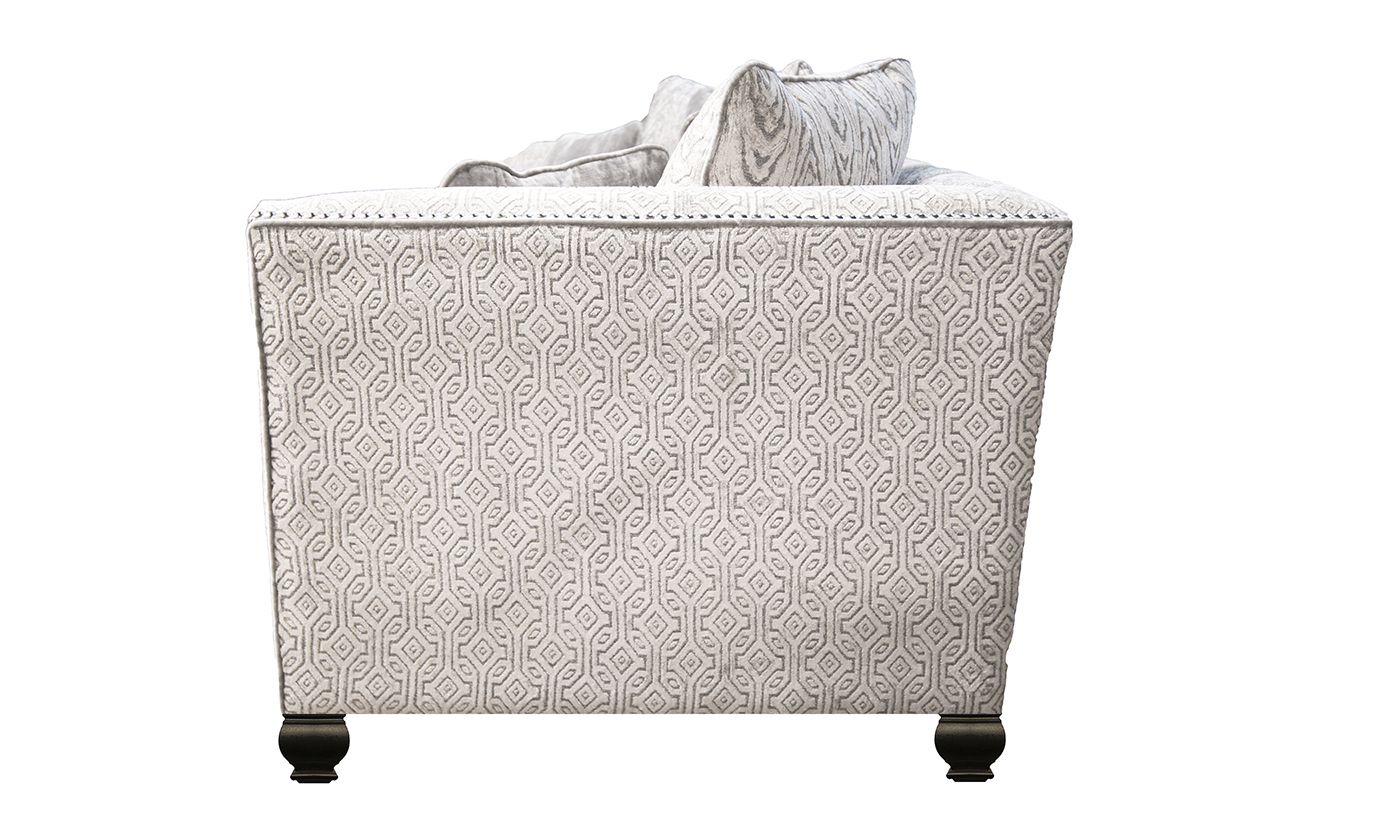 Grenoble Large Sofa in Monaco Pattern Taupe, Platinum Collection of Fabrics