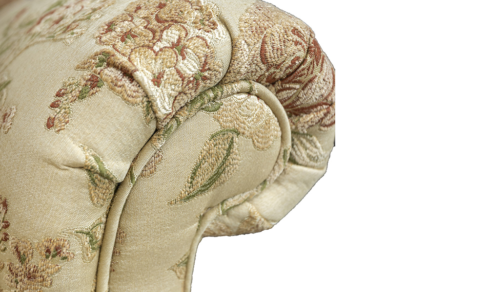 Greville Recliner Chair detail in Semi Ramis Pattern Platinum Collection Fabric