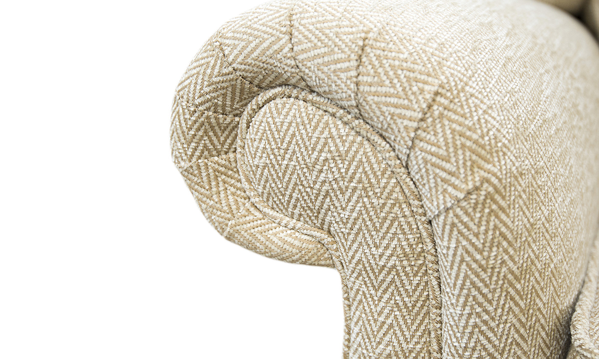 Greville Recliner Chair Arm Detail in Lenora Vanilla, Silver Collection Fabric