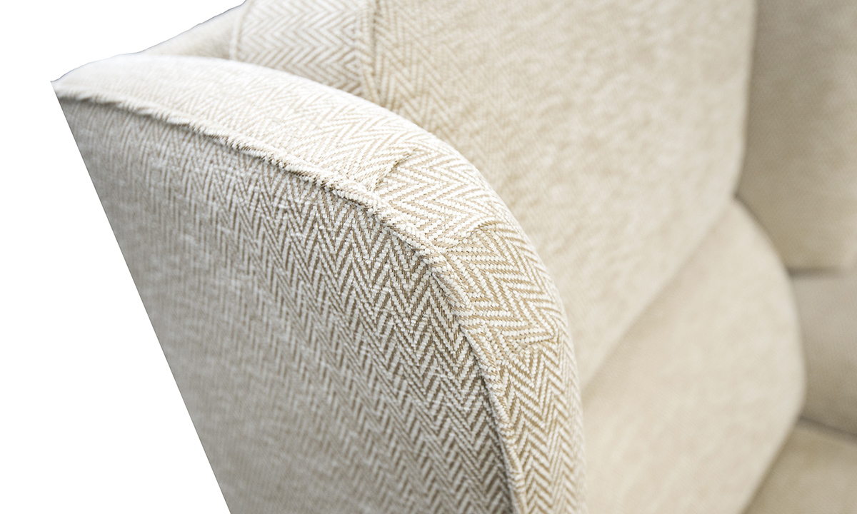 Greville Recliner Chair Detail in Lenora Vanilla, Silver Collection Fabric