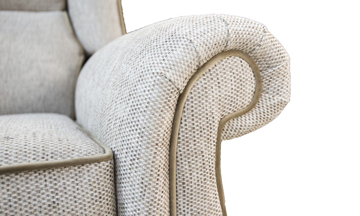 Greville Recliner Chair Arm Detail in Bravo Sand, Silver Collection Fabric