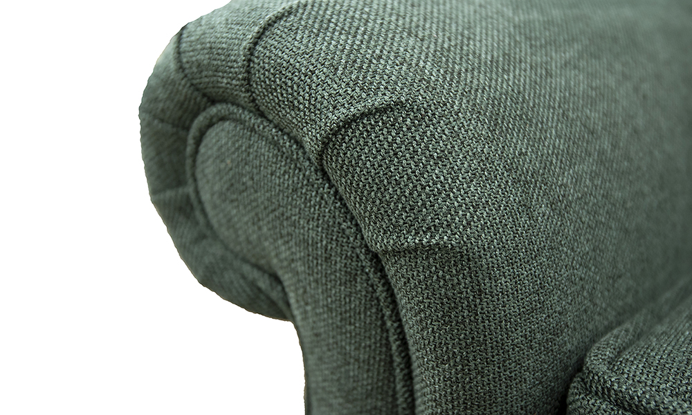 Greville Recliner Chair arm detail in Soho Green Silver Collection Fabric