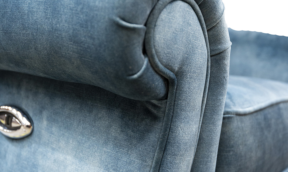 Greville Recliner Chair arm detail in Lovely Ocean, Gold Collection of Fabrics