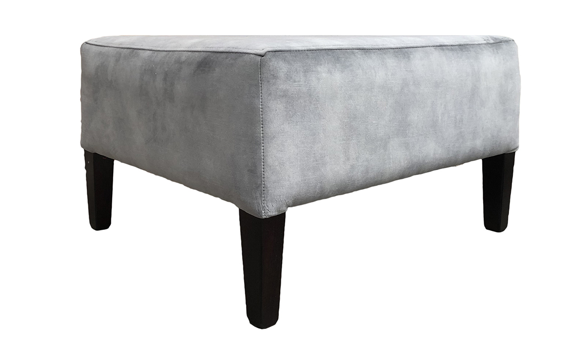 Bespoke Size Harvard Footstool in Lovely Slate, Gold Collection Fabric