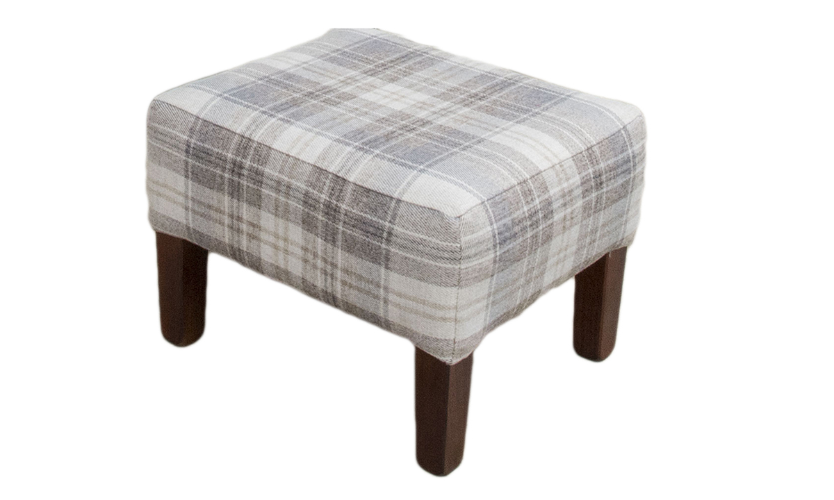 Harvard Footstool Aviemore Plaid Linen Silver Collection side