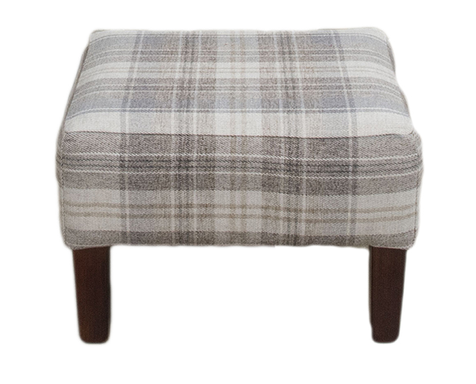 Harvard Footstool Aviemore Plaid Linen Silver Collection