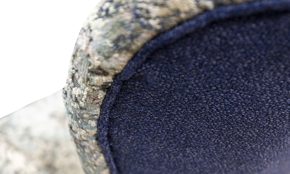 Close up in Igloo Ocean, Platinum Collection Fabric, Back Panel in Luca Navy, Bronze Collection Fabric