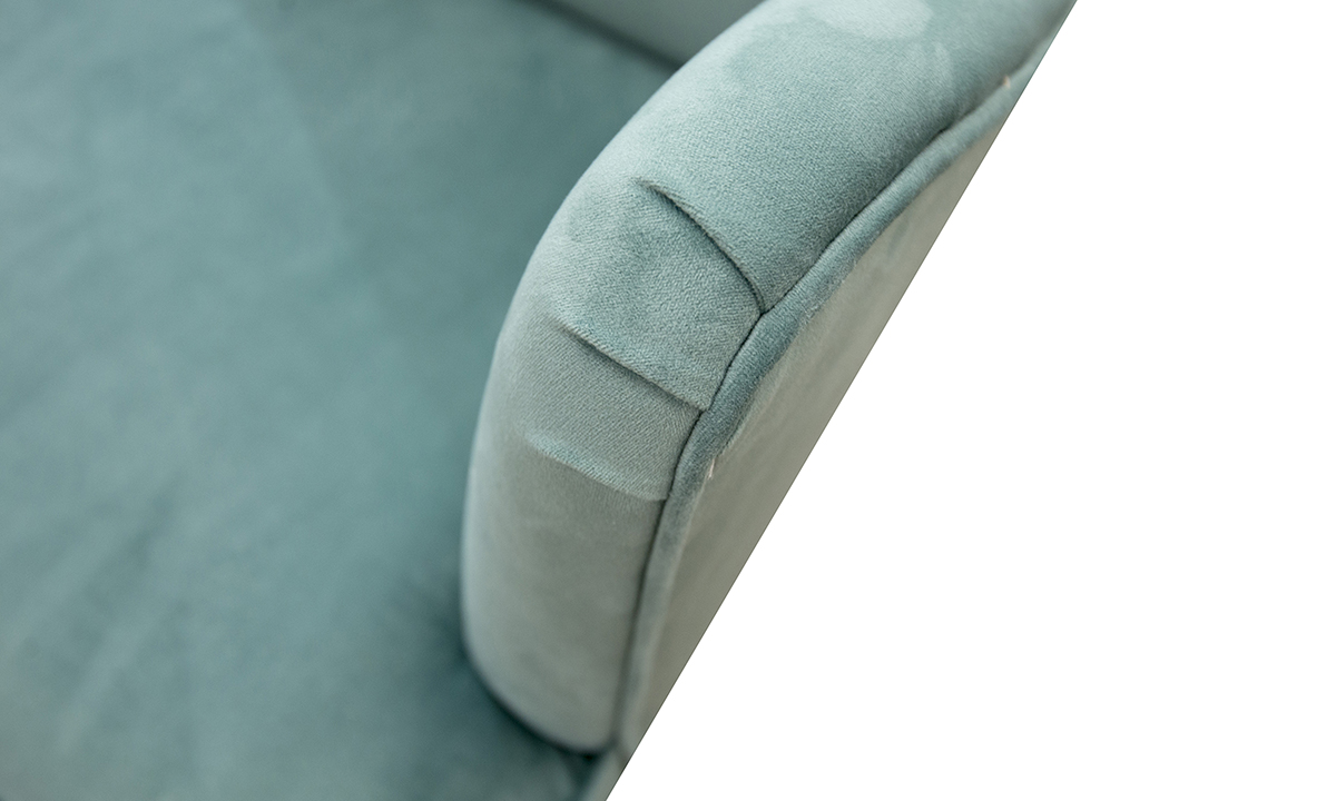 arm detail in Warwick Plush Lagoon Gold Collection Fabric