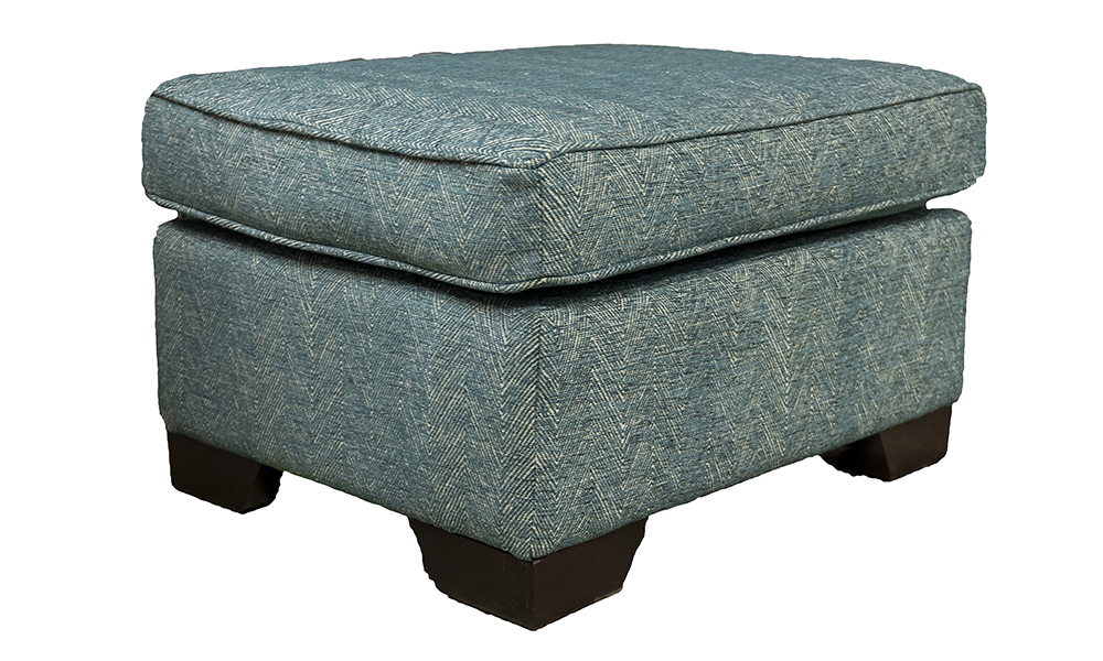 Imperial Footstool in Loisa Herringbone Ocean Silver Collection Fabric