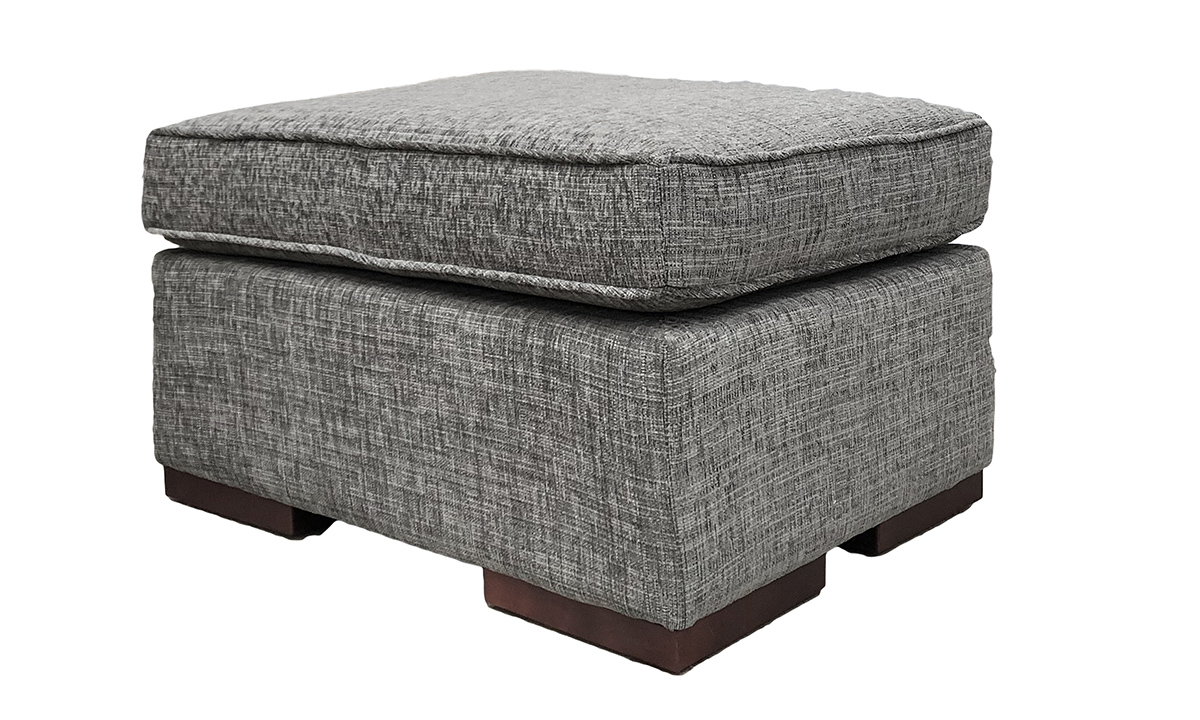 Leon Footstool in Corrine Charcoal, Bronze Collection Fabric