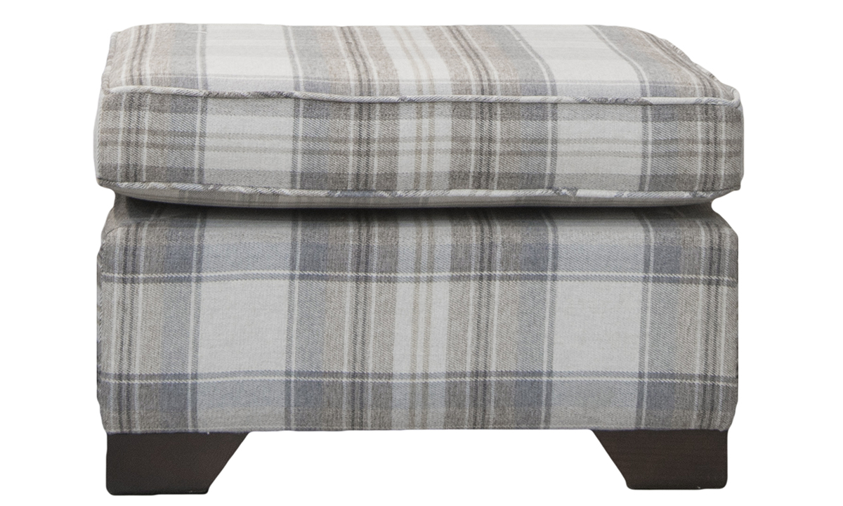 Othello Footstool in Aviemore Plaid Linen, Silver Collection Fabric