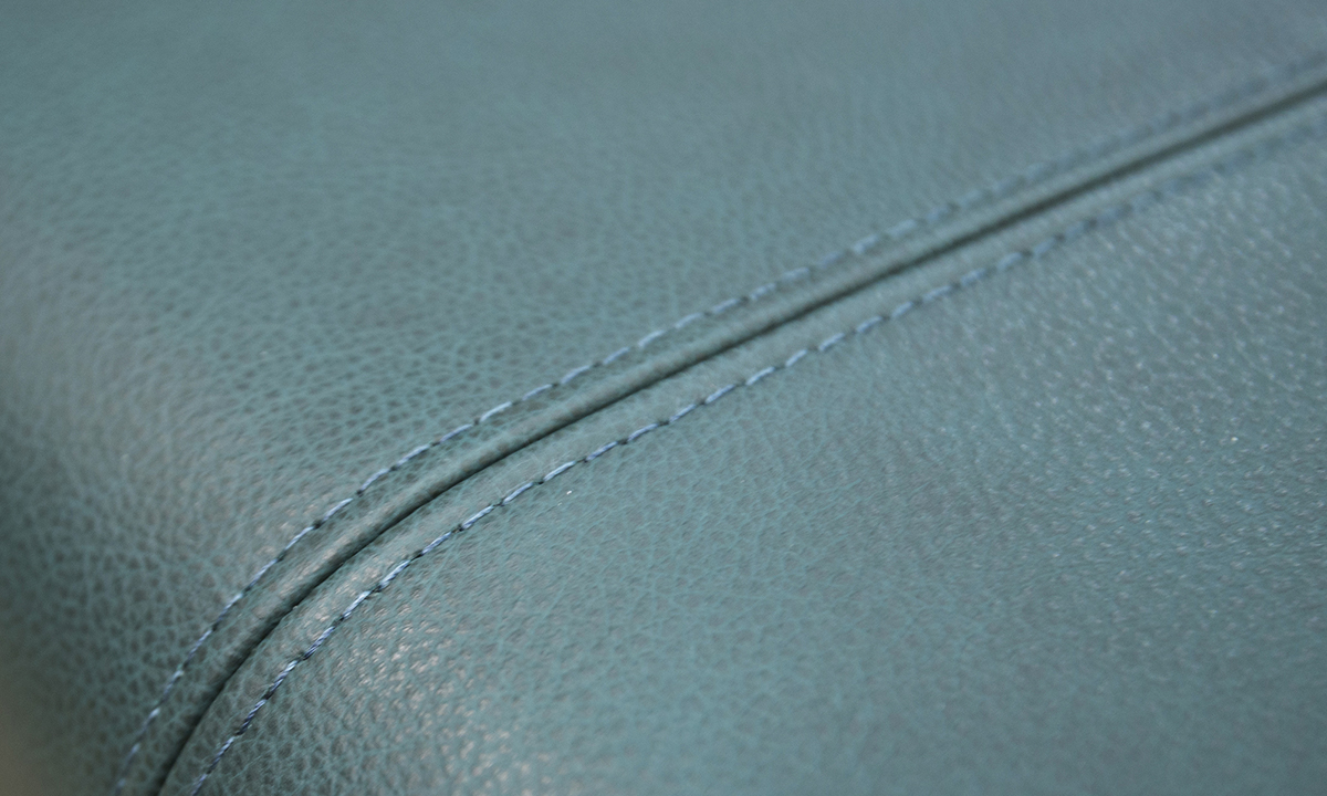 Leather Costa Footstool detail in Chelsea Emerald Green