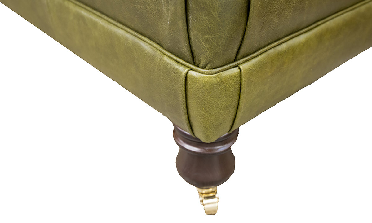 Leather Ottoman Footstool close up in Mustang Olive